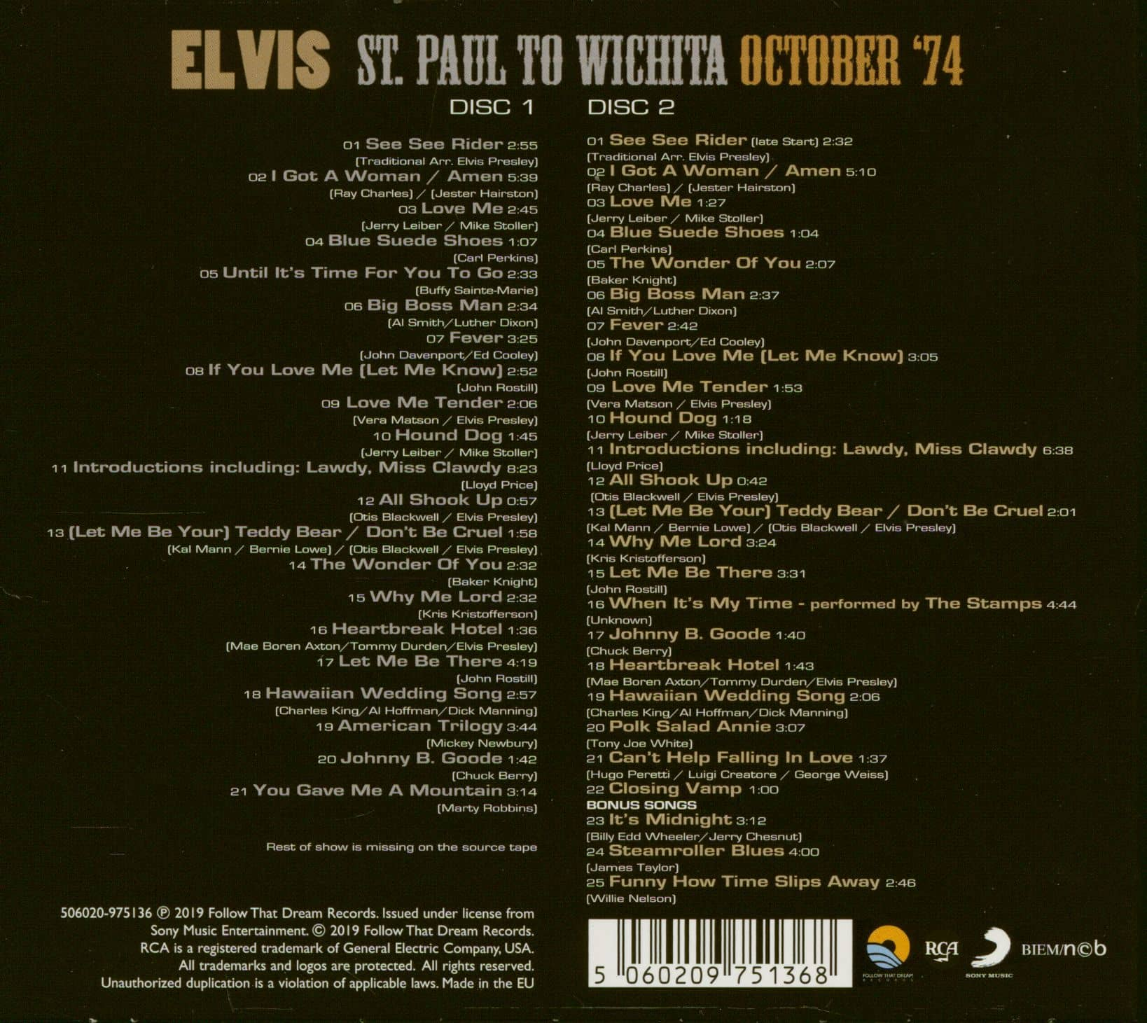 Elvis Presley Cd St Paul To Wichita October 74 2 Cd